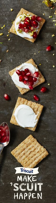 Whip up the perfect snack in no time, anytime at all. All it takes is yogurt, pomegranate, pistachio and TRISCUIT crackers.