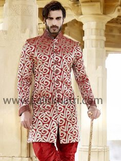 Glamorous red color silk fabric indo western garnished with shiny zari, cutdana and stone work. Item Code : SIJ6810 http://www.lalitkhatri.com/label/what-s-new/men.html