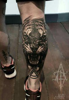 Tiger on calf tattoo idea