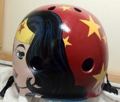 Wonder Woman helmet- Miss B. Haven > Wonder Woman helmet. For Miss B. Haven of the Inland Empire Derby Divas.