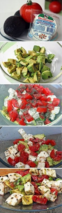 Fresh Avocado, Tomato and Mozzarella Salad