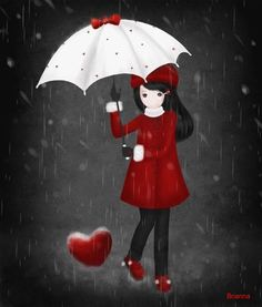 girl in red with umbrella Art And Illustration, Illustrations, Umbrella Art, Under My Umbrella, Marie Cardouat, 3d Art, Rain Art, Singing In The Rain, Cute Images