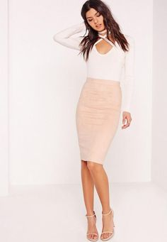 "good things come in small packages. shop our missguided petite range, for babes 5'3"" and under.  Join the suede parade and go faux-real in this skirt - featuring a nude hue, faux suede finish and midi length, you need to add this to your M..."