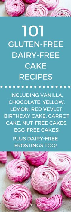 Included in this recipe roundup are: vanilla cake chocolate cake birthday cake yellow cake carrot cake nut-free cake egg-free cake lemon cake red velvet cake and dairy-free frosting recipes. Click through Dairy Free Gluten Free Cake Recipe, Dairy Free Vanilla Cake, Dairy Free Cupcakes, Dairy Free Frosting, Lactose Free Recipes, Dairy Free Eggs, Egg Free Recipes, Gluten Free Sweets, Allergy Free Recipes