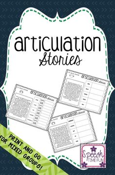 Speech Time Fun: Articulation Stories! Print and go for mixed groups! Target sounds included (in the initial and final positions): -/k, g, s, f, v, th, sh, ch, l, r/.