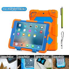 Aceguarder global design new products iPad mini case snowproof waterproof dirtproof shockproof cover case with stand Super protection for kids Outdoor adventure sports tourism Gifts Outdoor Carabiner + whistle + handwritten touch pen (ACEGUARDE Computer Accessories, Bag Accessories, Waterproof Camera, Ipad Mini 3, Global Design, Apple Ipad, Ipad Case, Vivid Colors, Orange
