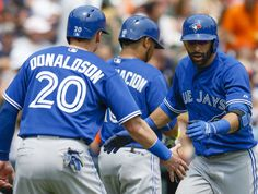 Josh Donaldson Edwin Encarnacion and Jose Bautista Baseball Boys, Baseball Players, Mlb Teams, Sports Teams, Josh Donaldson, American League, Toronto Blue Jays, Go Blue, Hockey