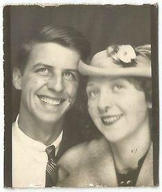 Lady in Floral Hat w Man Photobooth Old Vintage Photo Snapshot G2602   eBay