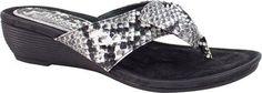 J. Renee Women's Ayala Thong Sandal Black/White Snake Print Leather Size 9.5 M