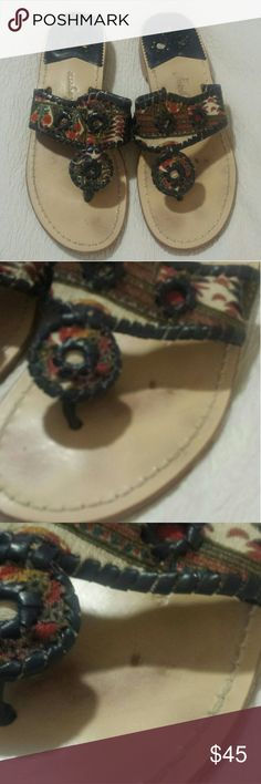 Jack Rodgers Paisley Sandal Paisley printed & Navy Blue stitching. Some minor wear on the top and bottom of sandals. No pulled out threads stains on the fabric. Size 7M Jack Rogers Shoes Sandals