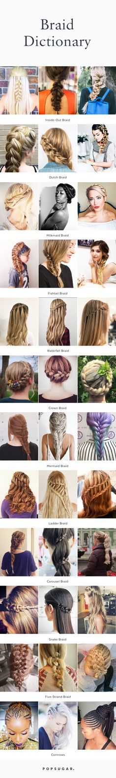 Everyone wants to master the new trendy braid style before a new one is invented. So, we've broken down every braid (with gorgeous real-girl pictures and tutorials) to inspire you to go back to beauty school.