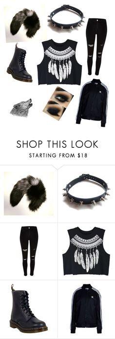 """""""The Wolf Inside"""" by sammeye ❤ liked on Polyvore featuring Maison Kitsuné, WithChic, River Island, Dr. Martens, adidas Originals, outfit, wolf and Therian School Clothing, Wolf Costume, Casual Outfits, Cute Outfits, Mori Girl, Outfit Goals, Anime Cosplay, Werewolf, Beanies"""
