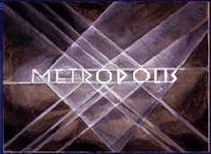 "Metropolis 1927 - Film Archive - Erich Kettelhut Drawings 1925-6.  Opening title of ""Metropolis"", sketch by Erich Kettelhut. (c) Filmmuseum Berlin - Deutsche Kinemathek. Sepia wash and colour drawing on paper. This image forms the basis for the original opening title graphic."