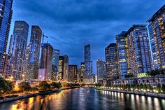 Chicago River at Blue Hour! The kids can't wait to go back