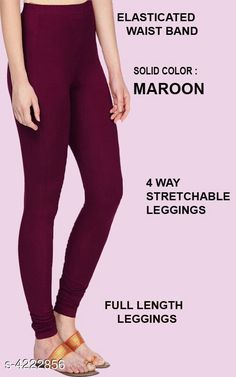 Leggings & Tights  Alluring Attractive Women's Legging Fabric: 95%COTTON  5% LYCRA Size: XL - Waist - Up To 22 in To 28 in Length - Up to 42 in XXL - Waist - Up To 25 in To 30 in Length - Up To 44 in Type: Stitched Description:  It Has 1 Pieces Of Women's Leggings  Colour: Maroon Pattern: Solid Country of Origin: India Sizes Available: XL, XXL   Catalog Rating: ★4.1 (476)  Catalog Name: Siya Alluring Attractive Women's Leggings Vol 18 CatalogID_603678 C79-SC1035 Code: 262-4222856-675