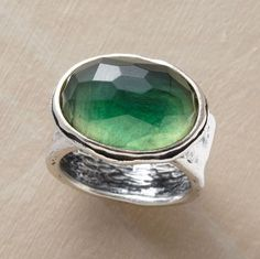 """Coastal Ring from Sundance Catalog. I was sold at """"flashes of russet""""-- it makes me think of the green flash on the ocean at sunset. $110"""