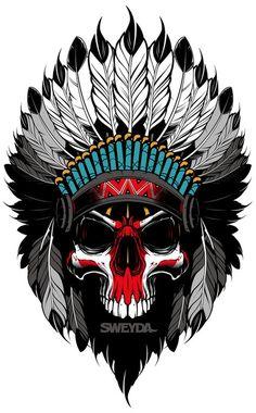 Vector indian, vector illustration, vector skull, sweyda.jpg
