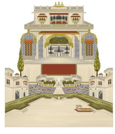 """Mughal Art"" on Behance Mughal Paintings, Indian Art Paintings, Building Painting, Building Art, Baroque Pattern, Pattern Art, Textile Prints, Textile Design, Paisley Art"