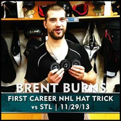 BURNZIE FIRST CAREER NHL HAT TRICK!!!!!!! Brent Burns, San Jose Sharks, National Hockey League, Stanley Cup, Hockey Players, Sign Quotes, My Happy Place, Bay Area, Nhl