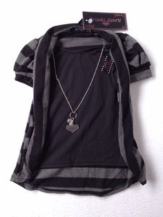 Girls size 4 Almost Famous Short Sleeve Shirt (NWT) W/necklace