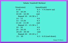 New Tabata Treadmill Workout -Happy Fit Mama Treadmill Workouts, Killer Workouts, Toning Workouts, Easy Workouts, At Home Workouts, Hiit, Walking Workouts, Fitness Workouts, Fitness Motivation