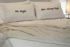 Kussenslopen als huwelijkscadeau Mr. Right and Mrs. Always Right | ThePerfectWedding.nl kussenbedrukken.nl