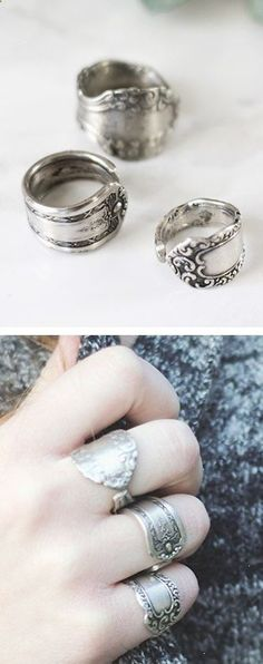 DIY Spoon Rings: You know what they say... The older the silverware the more character your ring has... So maybe they don't say that but who doesn't want one of these treasures.