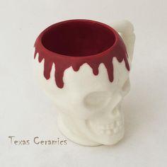 Bleeding Skull Mug for sale by Texas Ceramics at MoreThanHorror.com