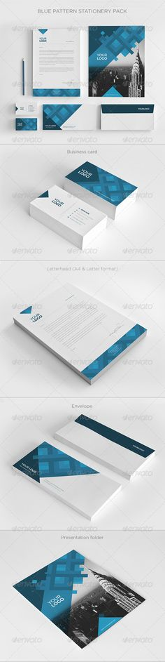 Blue Pattern Stationery Pack - Stationery Print Templates