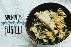 Spenótos-gorgonzolás fusilli Fusilli, Pasta Salad, Lunch, Homemade, Ethnic Recipes, Eve, Urban, Drink, Food