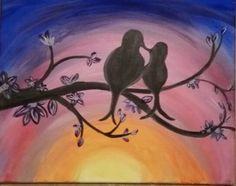 Love birds at sunset night original acrylic painting blue orange branch in Art   eBay