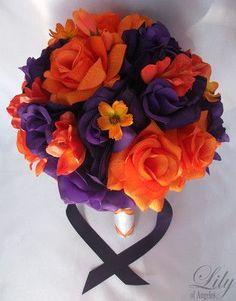 purple orange bouquet   Purple and Orange Wedding Bouquets