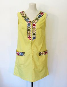 #Vintage 1960s Ken Robes by #Kenrose / Yellow House Dress / Embroidered #Lounger / A-line Shift by VelouriaVintage on Etsy