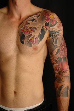 Mens tattoo, full sleeve, Japanese, koi carp with Asian flowers