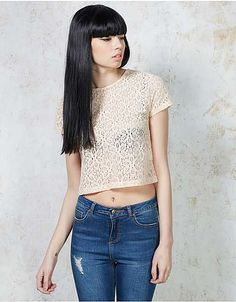 Hearts and Bows Pink Morenz Lace Crop Top | ARK