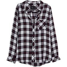 Womens Long-Sleeved Tops Rails Hunter Plaid Flannel Shirt ($67) ❤ liked on Polyvore featuring tops, shirts, flannel, blouses, plaid, long-sleeve shirt, curved hem shirt, flannel shirts, blue flannel shirt and tartan plaid shirt