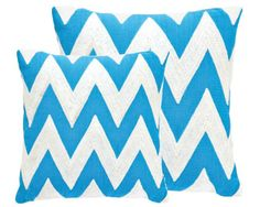 #FreshAmerican Chevron Turquoise/White Indoor/Outdoor Pillow. We gave this traditional pattern a style upgrade in an array of fresh colors on an all-season indoor/outdoor pillow.