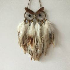 Mini Owl - Ready Made - Golden Cream Mini Owl Dreamcatcher - owl decor, owl dream catcher, owl dreamcatcher, black dreamcatcher by MyDreamcatcherLane on Etsy