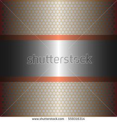 shiny silver metal with silver background.two shiny copper lines style.gold plate with hexagon holes style design