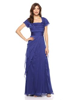 Mother of the Bride dress???ADRIANNA PAPELL Square Neck Chiffon Flutter Gown
