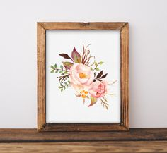 Watercolor Floral Printable Instant Download, Boho Chic Nursery Wall Art, Bathroom Decor, Bohemian Dorm Room, Kitchen, Office, Guest Room  PLEASE NOTE: This item is an INSTANT DIGITAL DOWNLOAD. You are purchasing a digital file only. No physical item will be shipped. No printed materials or frame are included.  Upon placing your order, you will be able to download your jpeg & pdf files exactly as pictured from your Etsy invoice. You can print from your home computer or send to a printing ...