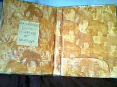 Bushbabies Craftworks End paper for a bush wedding folder done in mixed media-recycled Pick n Pay posters