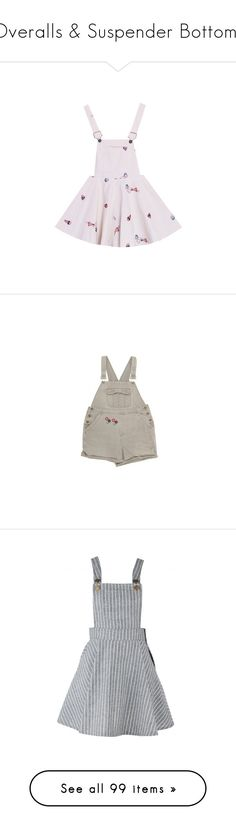 """Overalls & Suspender Bottoms"" by raelenas ❤ liked on Polyvore featuring dresses, skirts, overalls, bottoms, jumpsuits, rompers, shorts, dungarees, playsuits and daisy romper"