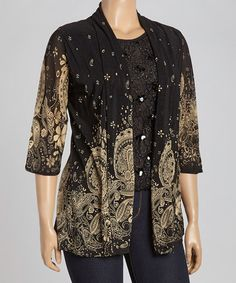 Love this Black & Beige Paisley Layered Top - Plus by C.O.C. on #zulily! #zulilyfinds