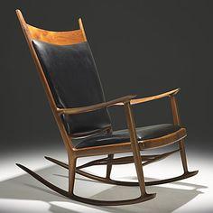 Sam Maloof; Walnut, Ebony and Leather Rocking Chair, c1970.
