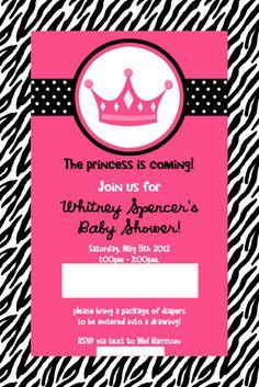 pink zebra princess baby shower invitation