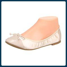 Damen Schuhe, HS16, BALLERINAS, SCHLEIFEN DEKO SLIPPERS, Satin Lacklederoptik, Beige, Gr 38 - Ballerinas für frauen (*Partner-Link)