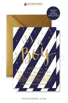 """It's a Boy Navy + Gold Glitter Baby Shower Invitation with navy blue stripes and modern gold glitter calligraphy lettering, """"Stella"""" style perfect for a boy baby shower. Coordinating envelope liners, favor tags, thank you cards, and more baby shower accessories also available, at Digibuddha.com 