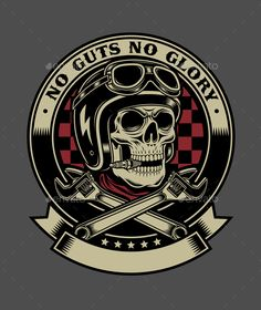 fully editable vector illustration (editable EPS) of vintage biker skull with crossed monkey wrenches emblem on grey background, i