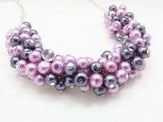Lilac Cluster Necklace Lilac Grey Cluster by crystaljemscouk